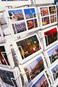 Postcards in a rack --- Image by © Royalty-Free/Corbis